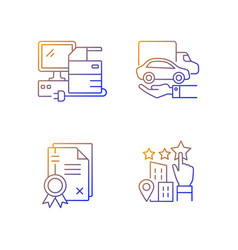 Company image gradient linear icons set vector