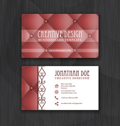 Creative business card template with leather vector