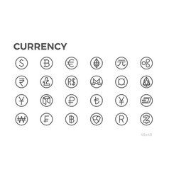 Currency icons dollar bitcoin euro and other vector