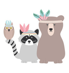 cute animals with feathers hats bohemian style vector image