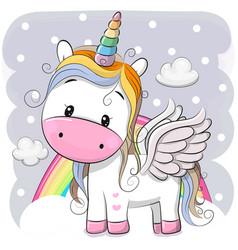 cute cartoon unicorn on clouds vector image