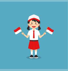 Cute indonesian elementary school holding flag vector