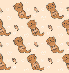 cute otter seamless pattern background vector image