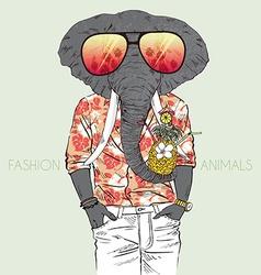 fashion animal elephant dressed up in aloha shirt vector image
