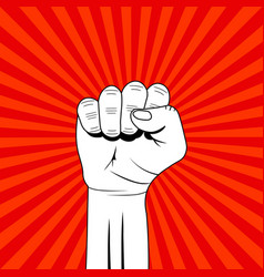 fist revolution hand up for showing power of vector image