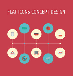 Flat icons sign payment cash and other vector