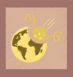 Flat shading style icon meteorite earth vector