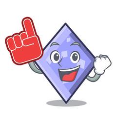 foam finger rhombus mascot cartoon style vector image