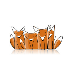 foxes family sketch for your design vector image