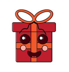 Gift box happy emoji icon imag vector