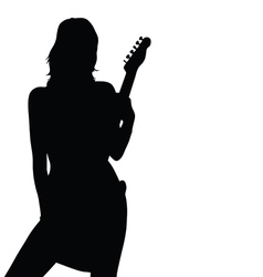 Girl posing with a guitar black silhouette vector
