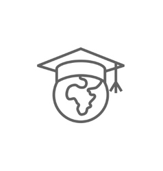 Globe in graduation cap line icon vector image
