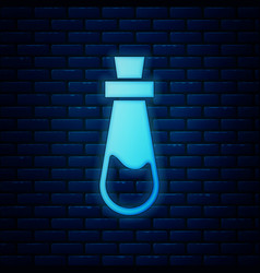 Glowing neon bottle with potion icon isolated on vector