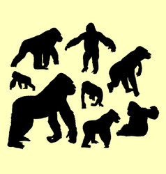 Gorilla wild animal silhouette vector
