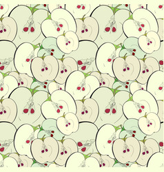 Greeen apple core and half seamless pattern vector