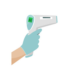 Hand holding digital infrared thermometer vector