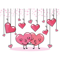 Hearts couple kiss to valentine day celebration vector