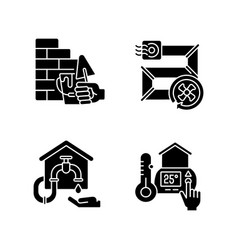 house building black glyph icons set on white vector image