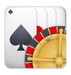 Icon deck of playing cards with roulette for vector