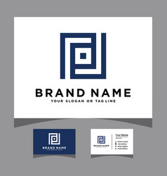 Initials pd logo with a business card vector