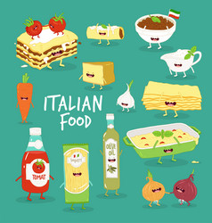 Italian food set lasagna and flavouring vector