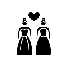 Lesbian marriage black icon sign on vector