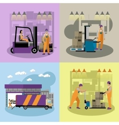Logistic and delivery service concept banners vector