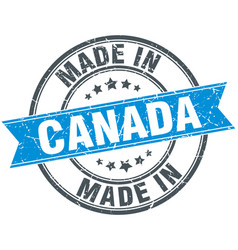 Made in canada blue round vintage stamp vector