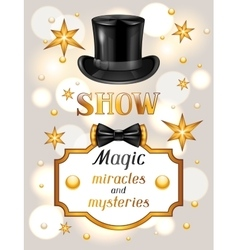 Magic show card Miracles and mysteries vector image