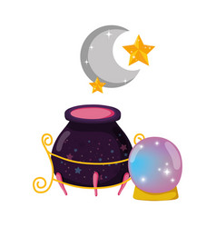 Magic witch cauldron with crystal ball vector