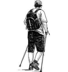 Man engaged in nordic walking vector