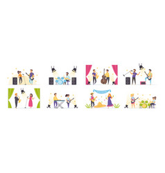 musicians set with people characters vector image