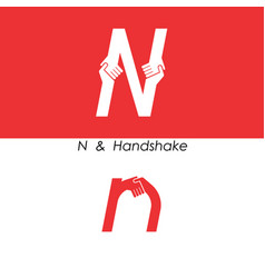 N - letter abstract icon and hands logo design vector