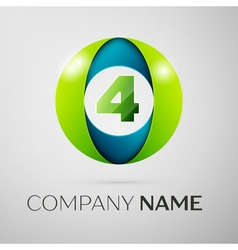 Number four logo symbol in the colorful circle on vector image