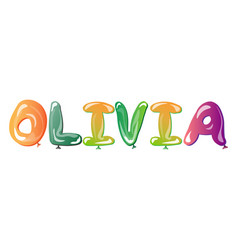 Olivia female name balloons vector