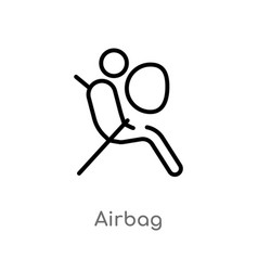 Outline airbag icon isolated black simple line vector