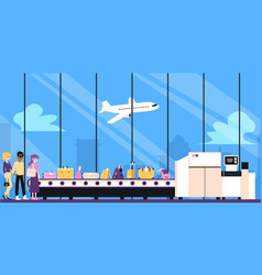 people waiting for buggage on airport luggage vector image