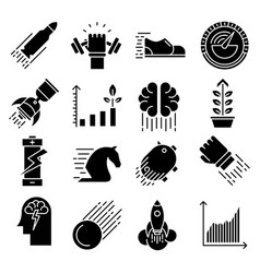 Performance icons set vector