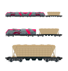 Pink locomotive with hopper car on platform vector