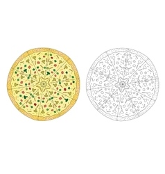Pizza drawing color and pizza line black and vector image