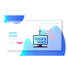 Program upgrading landing page template tiny vector