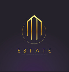 Real estate gold logo design vector