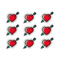 red heart pierced arrow set vector image