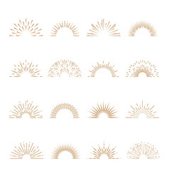 Retro sunburst sunrise firework sunset blast vector