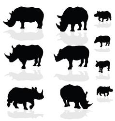 Rhinoceros wils animal black silhouette vector