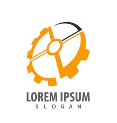 rotate gear logo concept design symbol graphic vector image