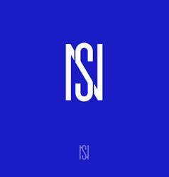 s and n monogram emblem flat linear letters vector image