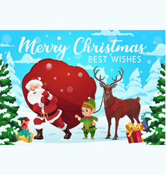 santa elf and deer with christmas gifts vector image