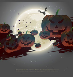Scary halloween background with flying pumpkins vector