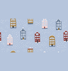 seamless pattern hand drawn scandinavian houses vector image